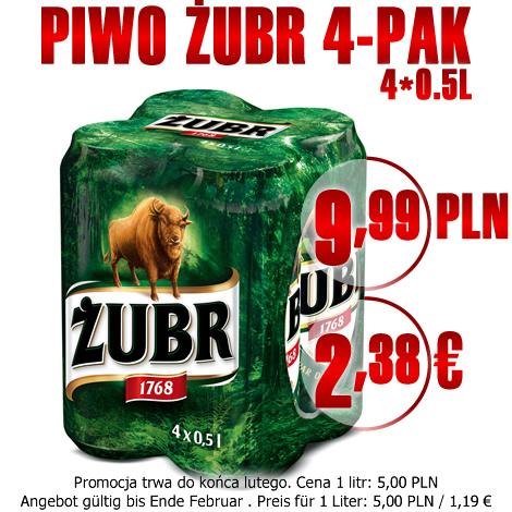 PIWO BIER ŻUBR 4*0,5L 9,99 PLN